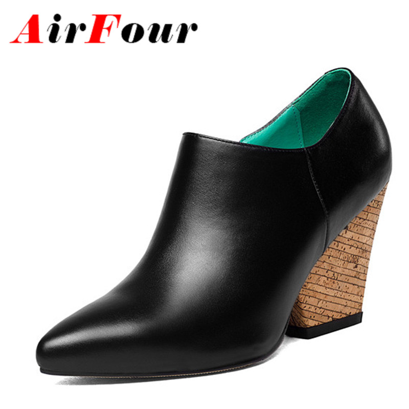 ФОТО Airfour High Heels Ponited Toe 2 Colors Classic Black Shoes Woman Size 34-40 Zippers Spring&Autumn Ankle Boots for Women Pumps