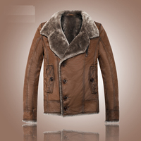 Australia sheepskin wool leather clothing for male genuine leather coat turn down collar mens winter jacket brown xxxxxl 4xl 5xl