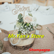 B·Y 12*180inch Sequin table runner Champagne Embroider for wedding party hotel dinner  Decor -64
