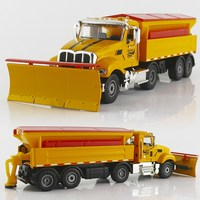 1:50 Simulation Alloy American Engineering Car Snow Clearer Vehicle Shoveling Snow Car Snow Removal Big Truck Metal Model Toys