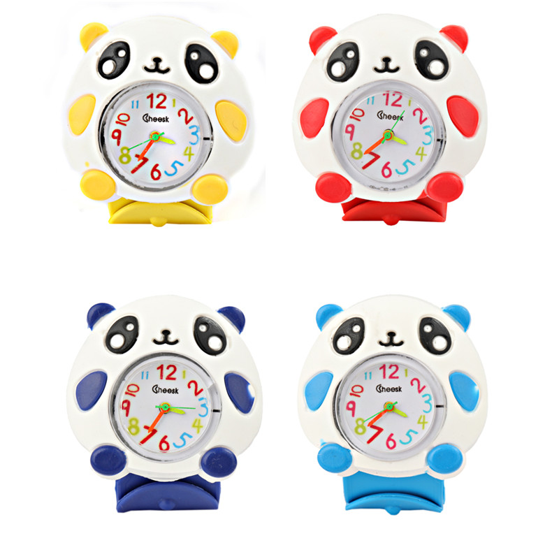 Cartoon3D Panda Silicone Strap Quartz Wristwatches  Kids Watches Fashion Sports Children Watches Cute Baby Clock