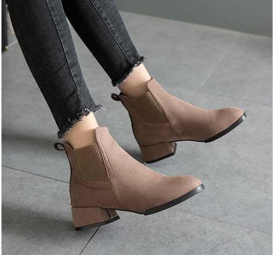 Moda Siyah yarım çizmeler Kadınlar Için Kalın Topuklu 2018 Yeni Sonbahar Akın Platformu yüksek topuklu ayakkabı Siyah Fermuar Bayanlar Çizmeler 35-41