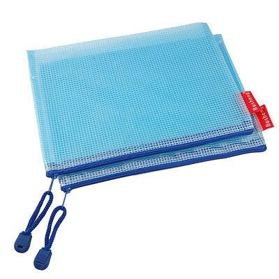 10 Pcs Blue Zipper Gridding A5 Document Pen File Bag Pocket Holder