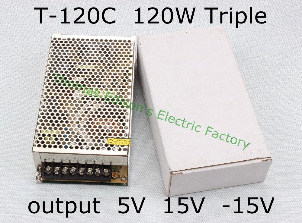 Triple output power supply 120w 5V 10A, 15V 3.5A,-15V 1A power suply T-120C  ac dc converter good quality t 120a triple output power supply 120w 5v 15v 15v power suply ac dc converter power supply switching