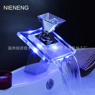 NIENENG led basin faucet water bathroom faucets hotel waterfall brass faucet taps WC mixers tap sink mixer ICD60177
