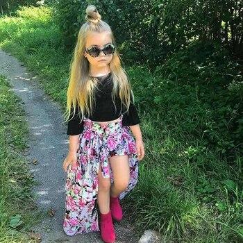 Girls Clothing Sets Chiffon Long skirt & Cotton Tops & Shorts 3 Pcs Summer Boho T-Shirts Kids Outfits 2 3 4 5 6 7 Years MB431 1