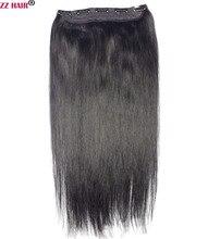 """Zzhair 16 """"-28"""" 100% бразильский волос 5 Зажимы в человеческих Волосы Remy расширения 1 шт. 100 г Одна деталь Комплект Прямо натуральных волос"""