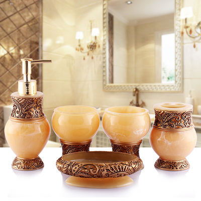 Résine salle de bain accessoires ensemble 5 pièces porte-brosse à dents Lotion distributeur savon anniversaire mariage cadeau décoration de la maison