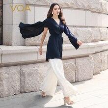 VOA Women capas y Ponchos Damas Cute Cape Femme V Neck Wrap Cloaks Sexy Belt Silk Navy Blue Ladies Coat mantella pelerin B911