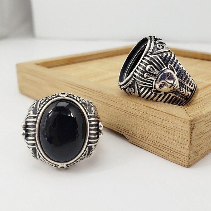 Véritable pur 925 anneaux en argent Sterling pour hommes pharaon égyptien gravé naturel noir Onyx pierre ouverture hommes anneau