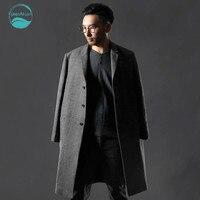 Linenall мужская одежда лен + хлопок пальто мужской осень однобортная верхняя одежда белье мужской средней длины белье траншеи мужской QF