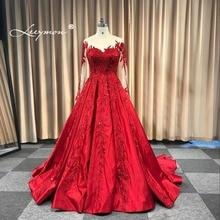 Leeymon 2018 Pulmakleit Appliques Beaded Vintage satiinist palli kleit pitsist üles pulma kleit põrandapikkusega tõelised pildid