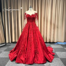 Купить с кэшбэком Leeymon 2019 Wedding Dress Appliques Beaded Vintage Satin Ball Gown Lace Up Wedding Gown Dress Floor-Length Real Pictures