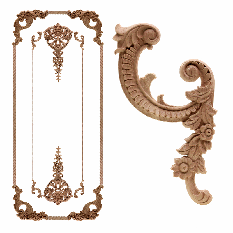 Vintage Unpainted Wood Carved Decal Corner Applique Frame For Home Furniture Wall Cabinet Door Decorative Wooden Miniature Craft