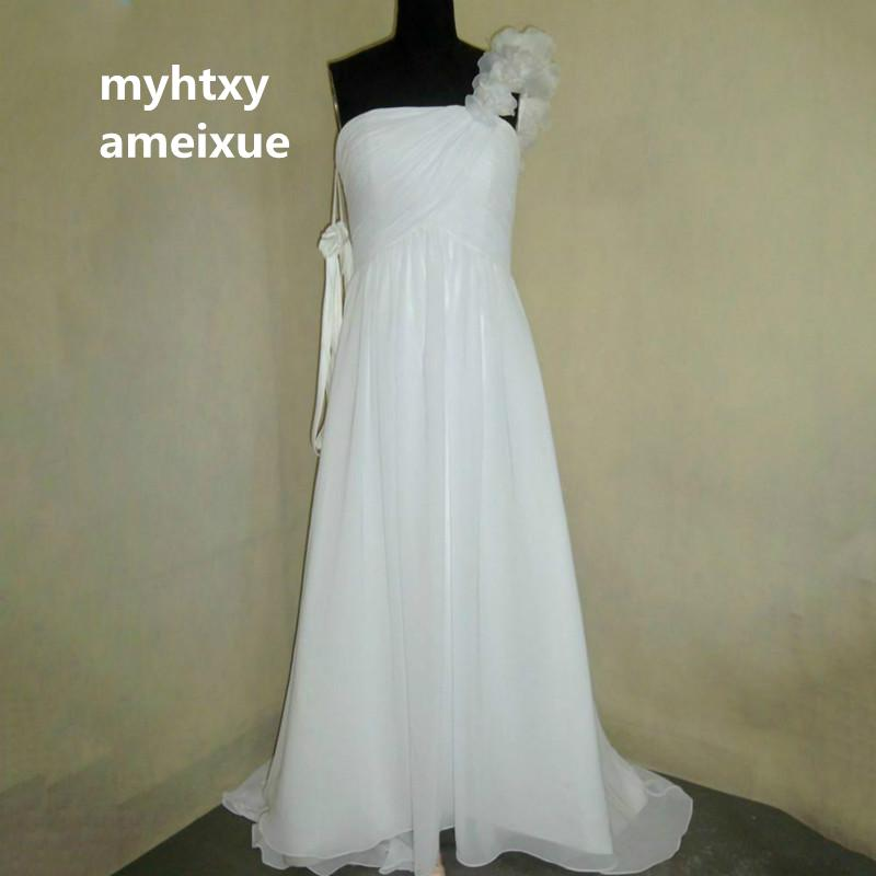 Sleeveless Chiffon Strapless Court Train Ace Up A Line One Shoulder Long Wedding Dresses Made In China Vestido De Noiva From