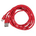 New 3 Meters Nylon Braided Micro USB Charger Sync Data Cable For Samsung For HTC Android Smartphone