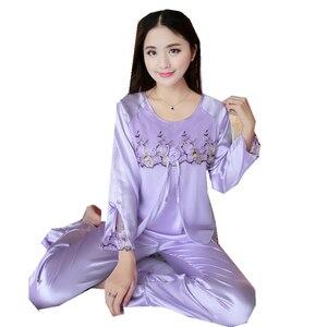Image 5 - 새 실크 잠옷 여성 자수 레이스 홈 의류 코사지 잠옷 여성용 긴 소매 잠옷 홈 슈트 pijama mujer