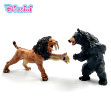Simulation forest Black Bear Saber tootheed lion wild animal model one piece action figure PVC hot toy Gift For Kids Decoration
