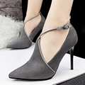 Discount Cheap 9 CM Thin High Heeled Party Shoes For Women Pointy Toe Buckle Gray Black Wine Red Suede Sexy Elegant Footwear