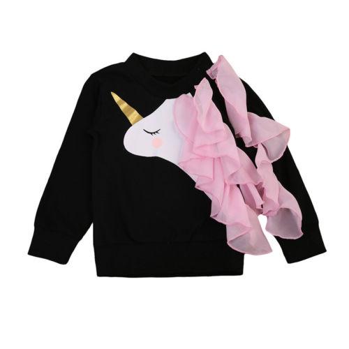 Cute Infant Baby Girls Unicorn Ruffle Tops Sweatshirts Long Sleeve New Fashion Fall Kids Toddler Clothes 0-24M