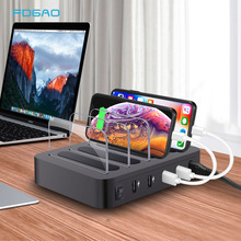 قاعدة محطة شحن USB سريعة الشحن 4 منافذ شحن سريع QC 3.0 أجهزة متعددة متعددة منظم شاحن لأجهزة Apple iPad iPhone
