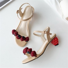 2019 summer womens sandals leather fabrics beautiful strawberry decoration fashion type heel women shoes