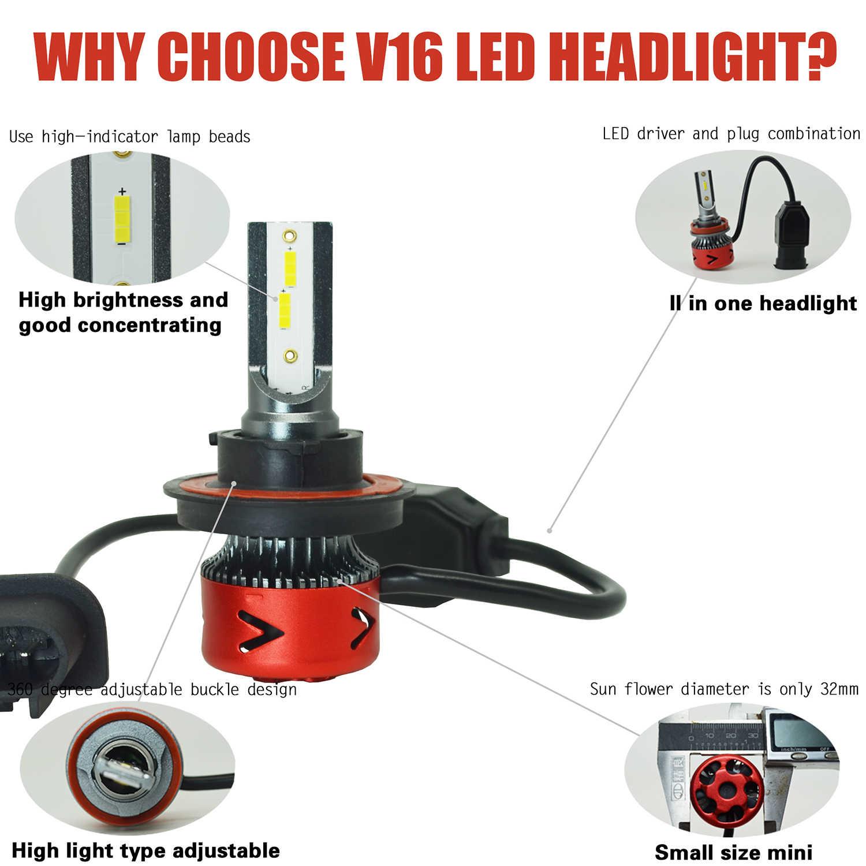 Новые продукты нового поколения автомобильные лампочки Led V16 H1 H8 H9 H4 H7 H11 9012 Led 9008 H13 9004 9006 Авто фары светодиодные H13 Li ion аккумулятор