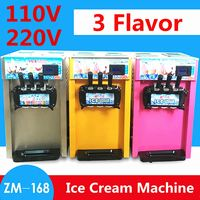 New Upgrade Commercial Frozen Cones Ice Cream Maker 3 Flavor Soft Ice Cream Machine With Egg Holder Foot Pads 110V/220V 18L/H