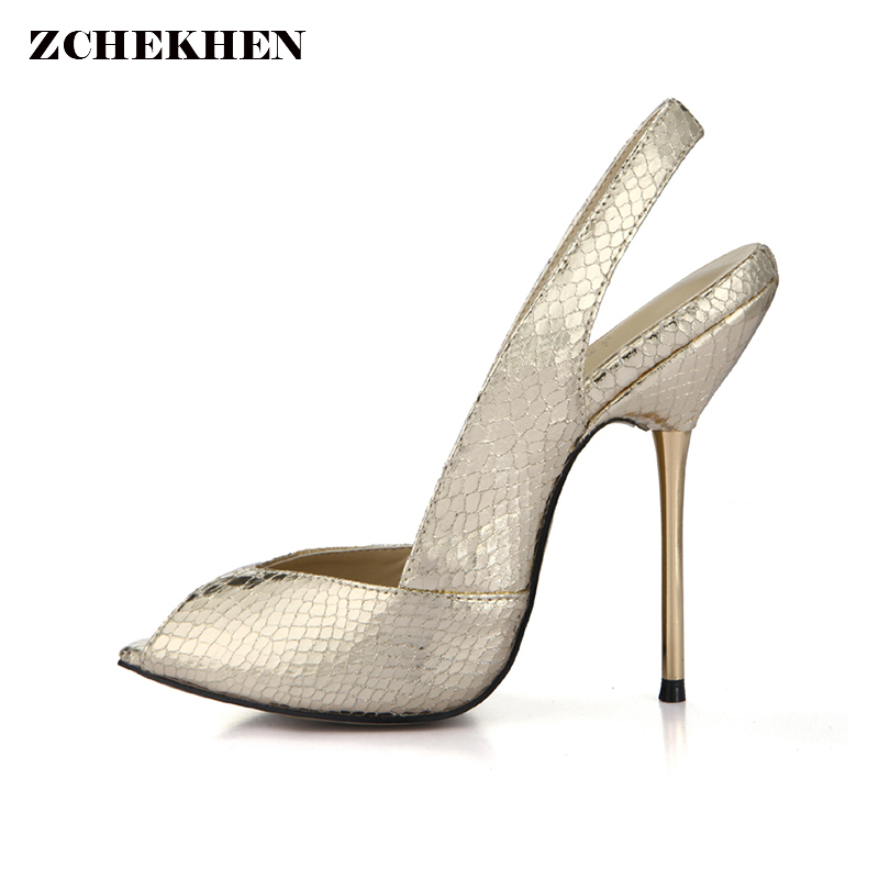 2018 Sexy Party Shoes Peep Toe Gold Pumps Thin Iron High Heel Slingback Ladies Shoes Summer Shoes for Woman dickens c pictures from italy