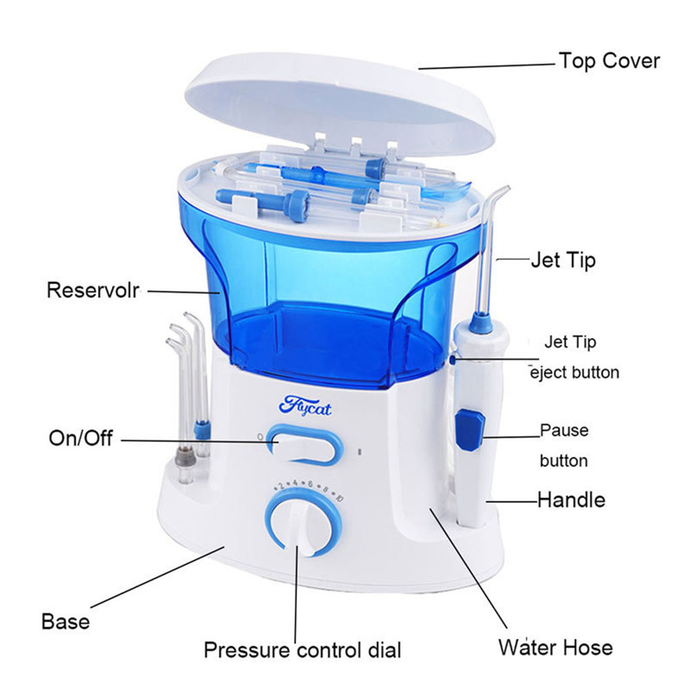 Efficient 7 Nozzles Water Jet Dental Teeth Flossing Set Oral Irrigator Tooth Cleaner Machine Family Oral Care Irrigator Series pro teeth whitening oral irrigator electric teeth cleaning machine irrigador dental water flosser teeth care tools m2
