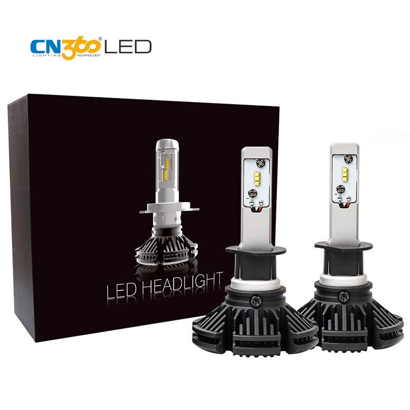 CN360 2 pièces H1 Led voiture phare ampoule 2nd GEN ZES puce 50 W 6000LM 12 V lampe unique réglable mandrin lumière parfaite lumière motif