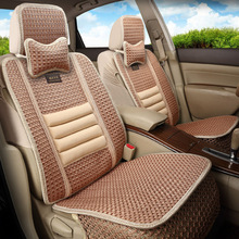 KKYSYELVA Car Seat Cover Set Leather Spring Summer Autumn Winter Auto Cushion for  Interior Accessories