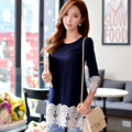 Dabuwawa o neck spring dark blue S M L XL long sleeve lace cotton t shirt