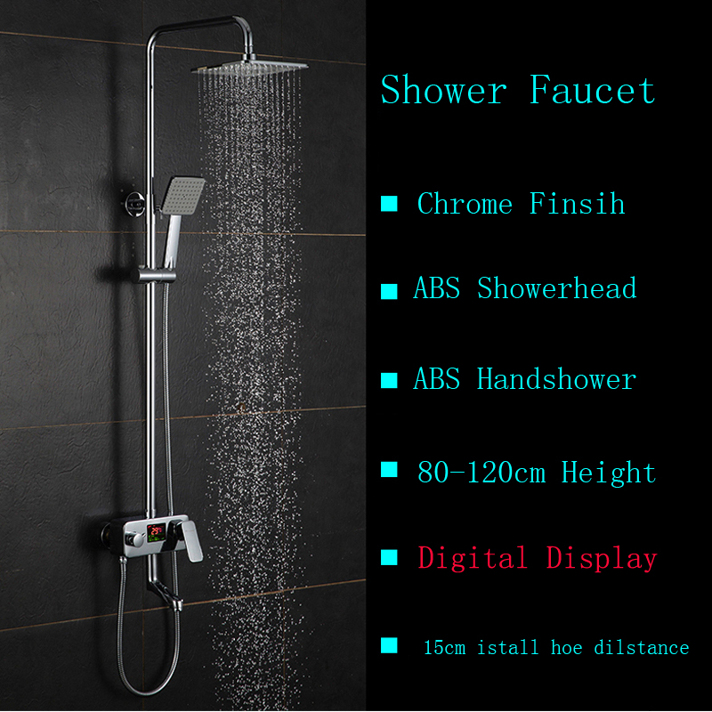 Chrome Shower Faucet 8 ABS Shower Head with ABS Handshower Temperature Display Shower Water Taps
