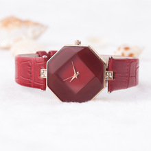 Excessive High quality Easy Model Crystal Real Leather-based Analog Quartz Wrist Watch Wristwatches for Ladies Women Black Crimson