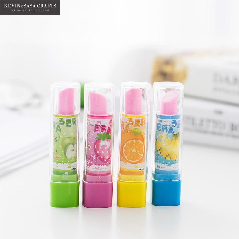 4Pcs/Set Kawaii Eraser Pencil Drawing Quality Tools School Supplies Kids School Items Erasers For Kids Rubber Cute Eraser Pencil