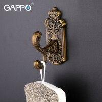 GAPPO Wall Mount Robe Hooks Zinc Alloy Clothe Hook Coat Bathroom Accessories Stainless Steel Towel Hanger
