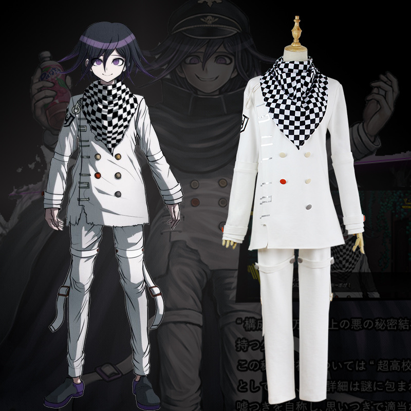 Custom Made New Danganronpa V3 Cosplay Ouma Kokichi Cosplay Costume Anime Game School Uniform Suit Outfit coat + Pants + Scarf