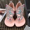 Perla de cuentas de diamantes sandalias planas del verano femenino 2016 plana estudiante bromista con Roman yardas grandes para los zapatos de las mujeres