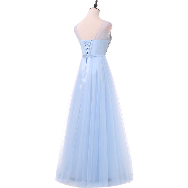 FADISTEE New arrival luxury long style dresses bling beading tulle evening dresses prom party crystal pearls floor length 2