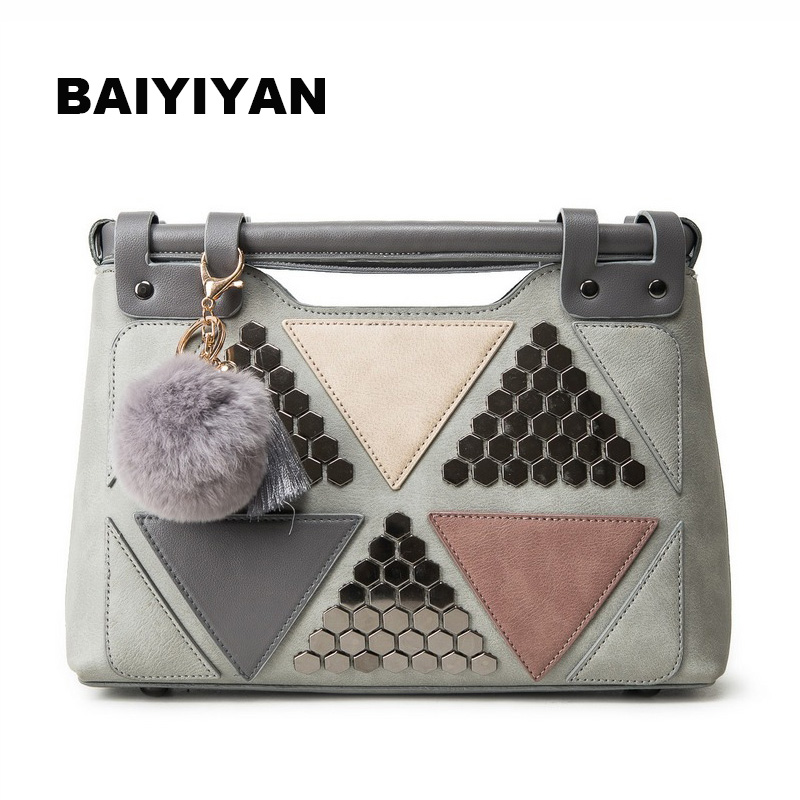 New Rivet Womens Tote Handbag Splice Shoulder Bags Lady Patchwork Shopping Bags Fashion Messenger Bag with Fur Ball