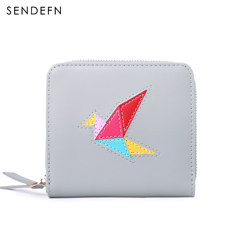 SENDEFN New Leather Women Wallet Mini Wallets Female Short Coin Purses Bird Design Lady Small Purse