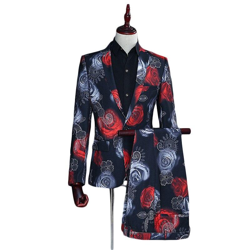 Loldeal Mens Wedding Suits 2018 Slim Fit Men Floral Suits Latest Coat Pant Designs Costume Homme Mariage Male Stage Wear