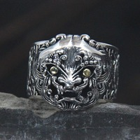 Personality Grim Lion Ring Sterling Silver S925 Chinese Style Thai Silver Retro Animal First Ring Male Open Ended Ring