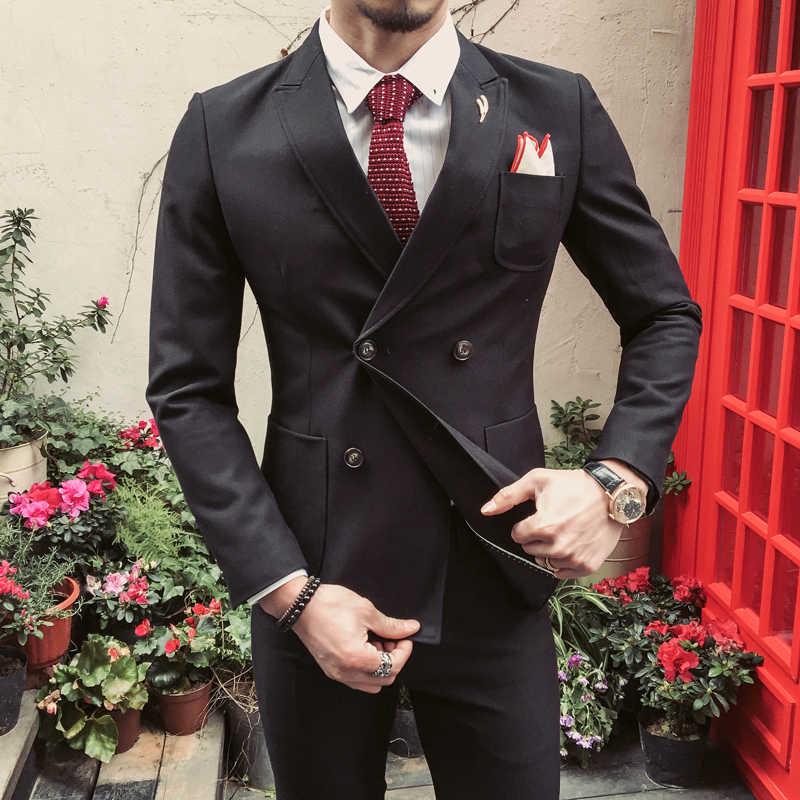 ダブルブレストスーツ男性ブラックカーキダークグリーン紳士スーツ衣装マリアージュオム 2 ピース結婚式のスーツ q539