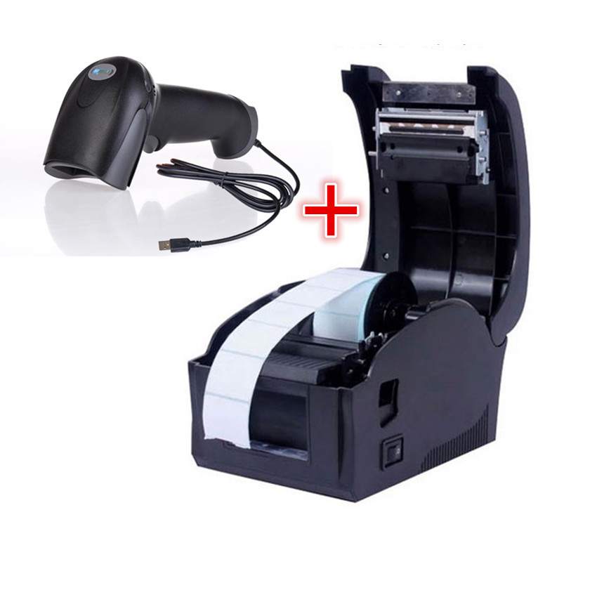 1 pcs One dimension code Barcode scanner+  Barcode label printers Thermal  clothing label printer Support 22-80mm printing width supermarket direct thermal printing label code printer