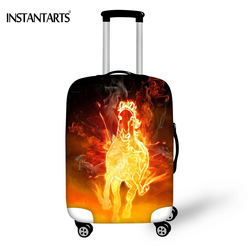 INSTANTARTS 3D огненная лошадь с Чемодан Сгущает обложки дорожные аксессуары пыль дождевик относятся к 18-30 дюймов тележка чемодан