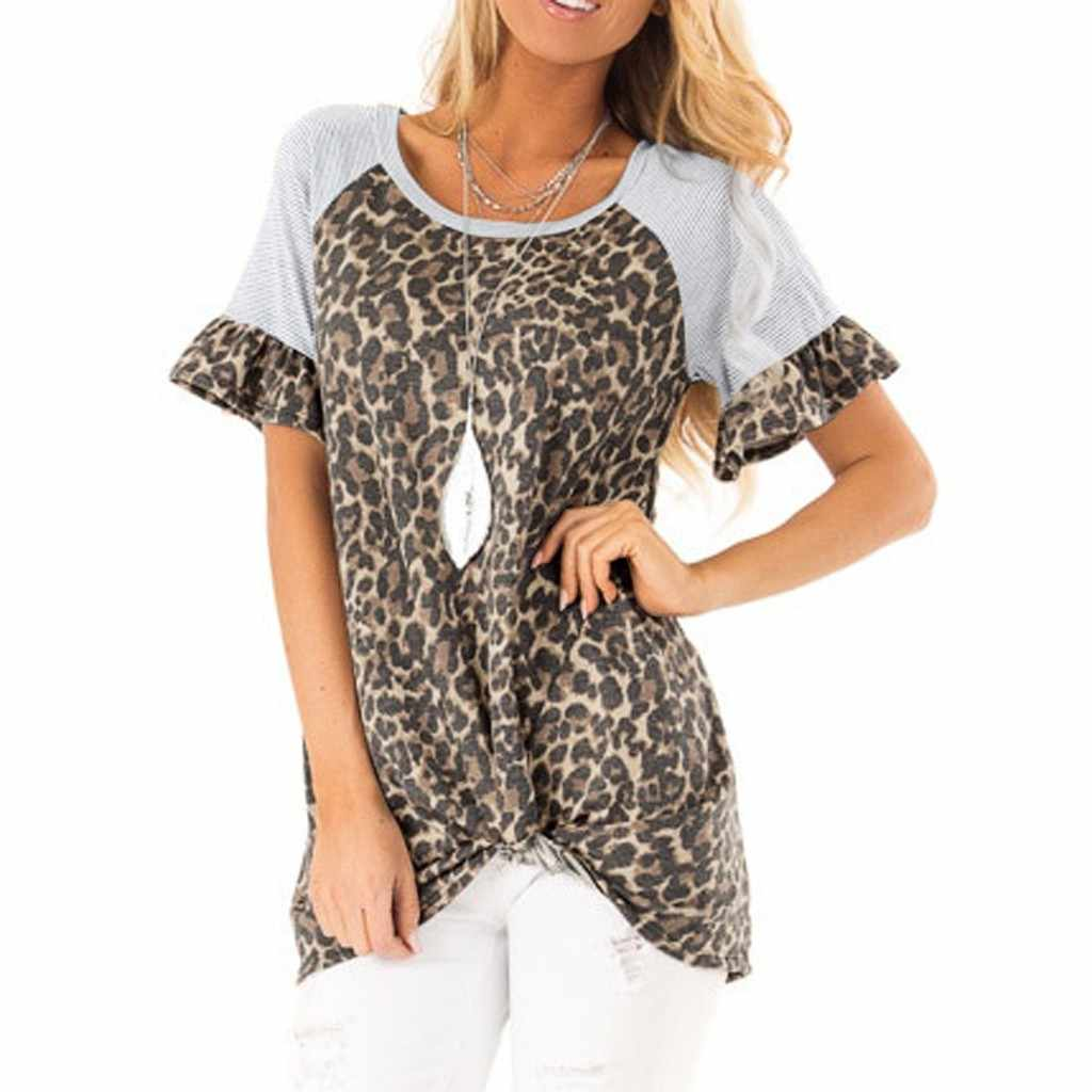 Fashion Womens T-Shirt Ladies O-Neck Short Sleeve Striped Leopard Print Patchwork Butterfly Sleeve Simple Tops Shirt Summer