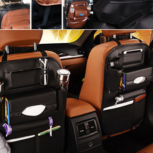 Black Car Leather Seat Back Storage Bag Multi Pocket Auto Organizer for iPad iphone Phone Holder