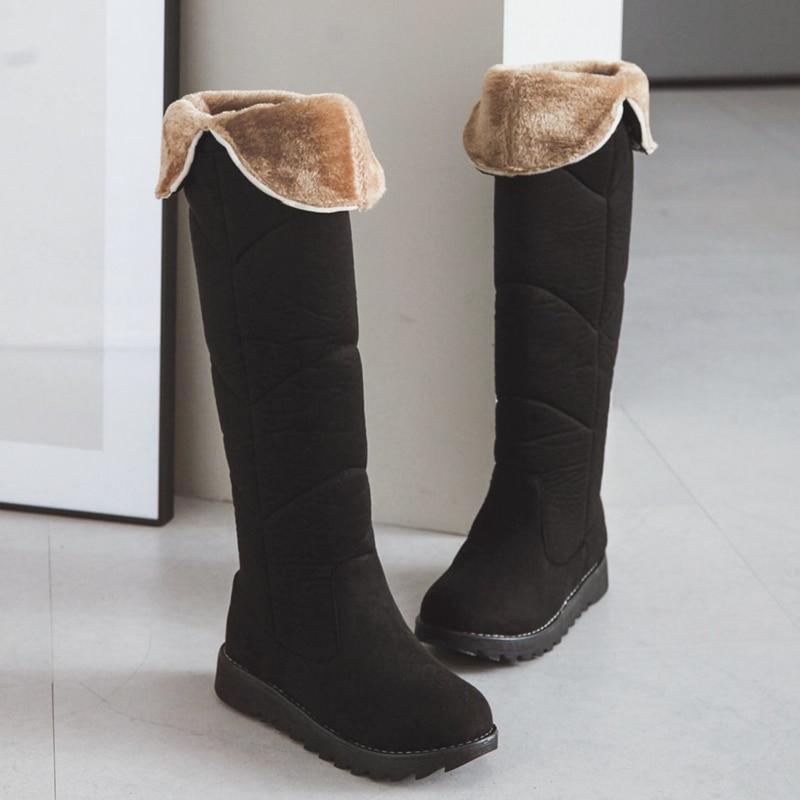 S.Romance Plus Size 34-43 Snow Boots 2018 Wedges Heel Round Toe Women Boots Female Shoes Woman Winter Boots Black Beige SB156